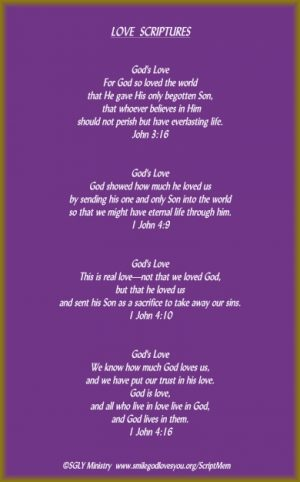 God's Love Scriptures-Memory Verse Card